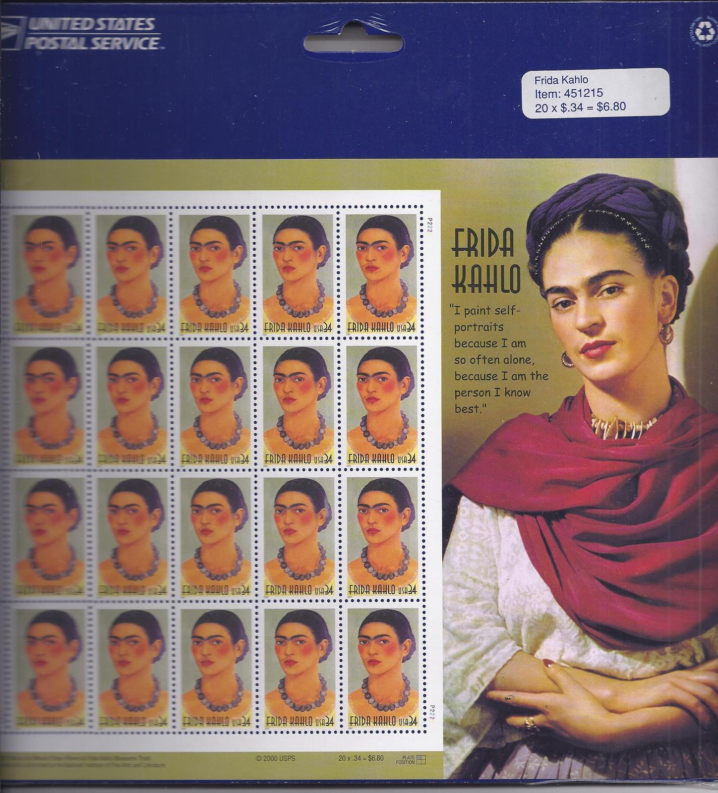 Frida kahlo stamp shee