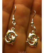 Twin Dolphin Drop Dangle PETITE Earrings  925 S... - $13.99