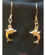 Mini Dolphin PETITE Dangle Drop Earrings  925 S... - $11.99
