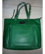 Joy Mangano Textured FAUX Leather EMERALD Green Tablet Tote - $38.59