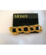 """Monet link chain bar gold tone brooch pin 2.5"""" x 1/2"""" signed NOS - $14.10"""