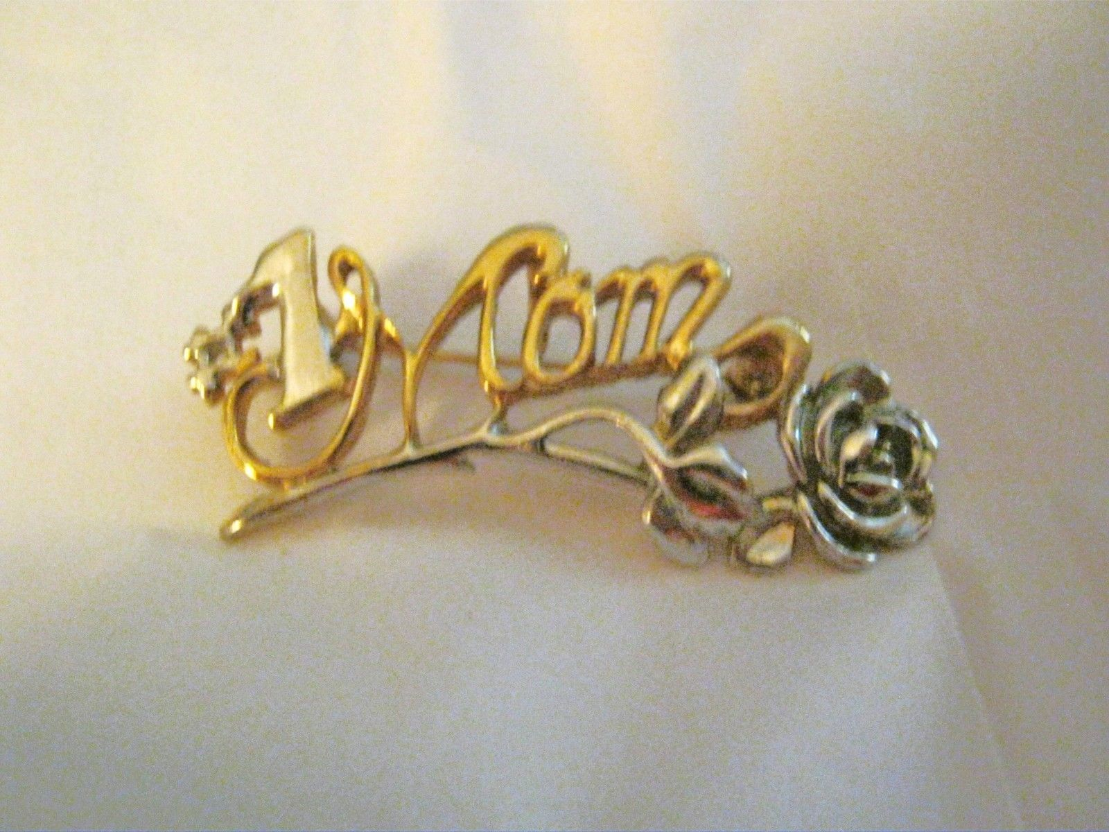 """#1 Mom 2 tone gold silver rose metal brooch pin MINT signed Danecraft 2 1/4 x 1"""" - $14.84"""