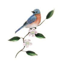 Bovano Enamel Wall Art Decor Bluebird Apple Blossom NEW - $110.00