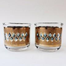 2 Culver Seville Condiment Jars 22k Gold Turquoise Diamonds Jeannette Glass MCM - $29.99
