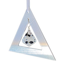 Aluminum and Crystal Triangle Ornament - Bell image 5