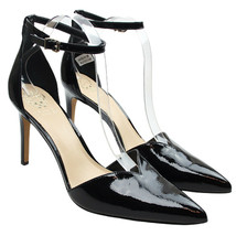 VINCE CAMUTO Maveena Black Patent Leather Ankle Strap Heels Point Toe - $23.74