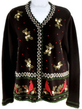 Reference Point Christmas Cardigan Ladies Snap Closure Sweater   - $8.00