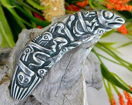 Vintage NW Coast Native American Haida Pendant Slide Pewter - $79.95