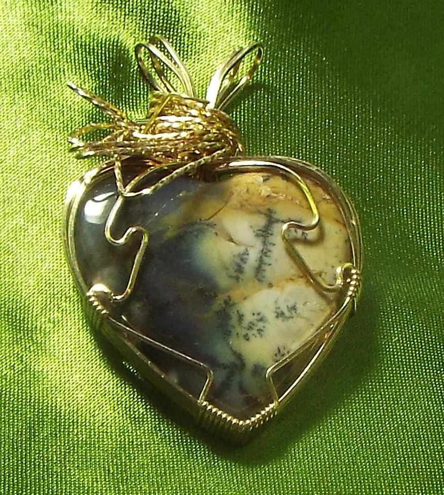 14Kt GF Pendant w Amethyst Jasper Heart ( WP86)