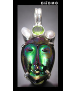 Titanium SHELL FACE MASK Pendant in STERLING Silver with PERIDOT and PEARLS - $105.00