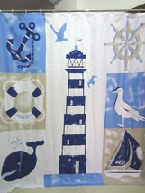 Marine Style Light House Whale Key West 180 x 200 cm Polyester Shower Curtain  - $29.99