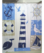 Marine Style Light House Whale Key West 180 x 200 cm Polyester Shower Cu... - $29.99