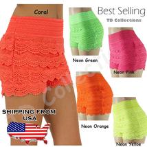 New Women's Crochet Tier Lace Shorts Scallop Hem Skorts Short Pants Neon Color - $19.99