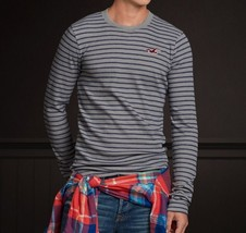 Hollister Crescent Bay Crew Men's Shirt size Small S NEW Gray/Blue Long Sleeve - $24.99