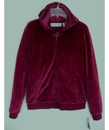 New Burgundy velour hoodie S Bloomingdales NWT ... - $32.99