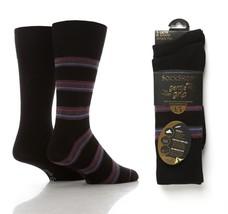 2 Paires de chaussettes en coton Sockshop doux noir/violet double rayées Hommes - $8.91