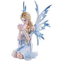 Fairyland Legends Blue Winged Fairy with Flowers Statue Figurine - $71.27