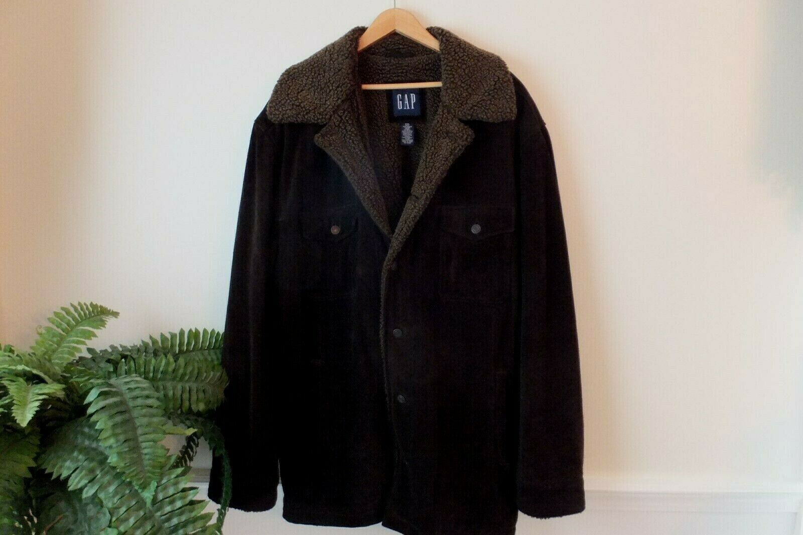 GAP Mens Suede Leather Coat Jacket Thick & Heavy Sherpa Lined Size XXL Dk Brown
