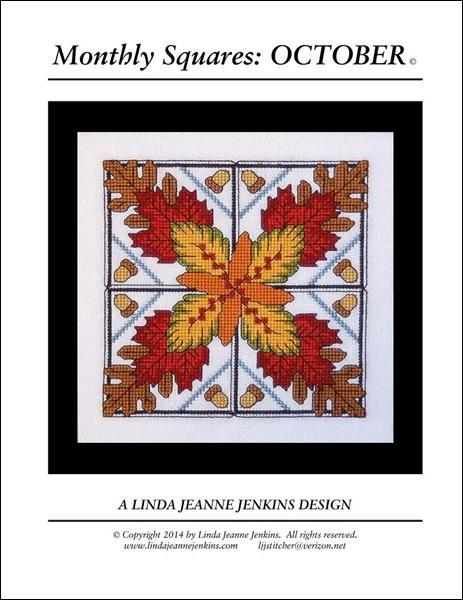 Monthly Squares October cross stitch card chart Linda Jeanne Jenkins