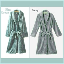 Long Luxury Soft Velvet Coral Fleece Belted Spa Lounger Bathrobe With Pockets image 3