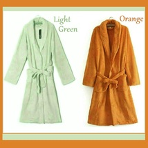 Long Luxury Soft Velvet Coral Fleece Belted Spa Lounger Bathrobe With Pockets image 5
