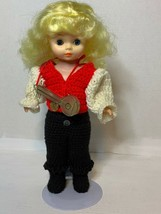 """Vintage 12"""" Fibre Craft  Doll W/Handmade Crocheted Red And White Shirt &... - $15.00"""