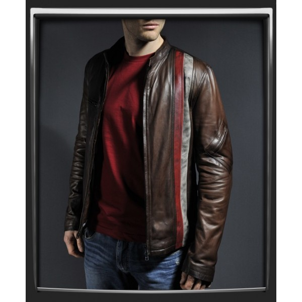 MEN BROWN COLOR LEATHER JACKET MENS BIKER JACKET MEN CASUAL LEATHER JACKETS - Outerwear