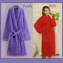 Long Luxury Soft Velvet Coral Fleece Belted Spa Lounger Bathrobe With Pockets image 8