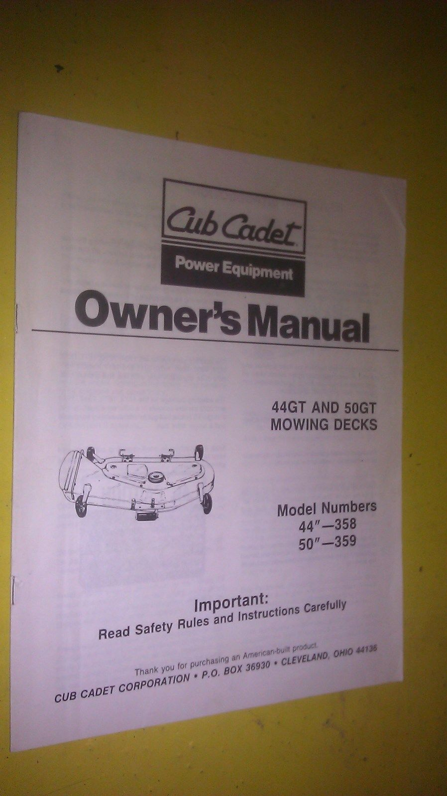 Genuine cub cadet 44gt and 50gt mowing decks models owner s manual