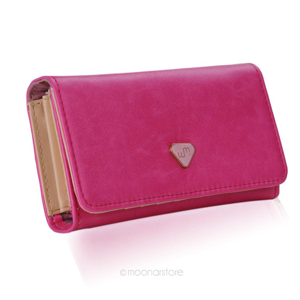 lady women pu leather zipper handbag wallet clutch purse