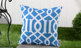 "Blue Geometric UV50 Weather Resistant Decorative Throw Pillow 18"" x 18"" NEW"