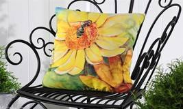 "Yellow Flower & Bumblebee UV50 Weather Resistant Decorative Pillow 18"" x 18"""