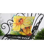 "Yellow Flower & Bumblebee UV50 Weather Resistant Decorative Pillow 18"" x 18"" - $32.66"