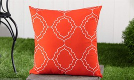 "Orange Geometric UV50 Weather Resistant Decorative Throw Pillow 18"" x 18"" NEW"