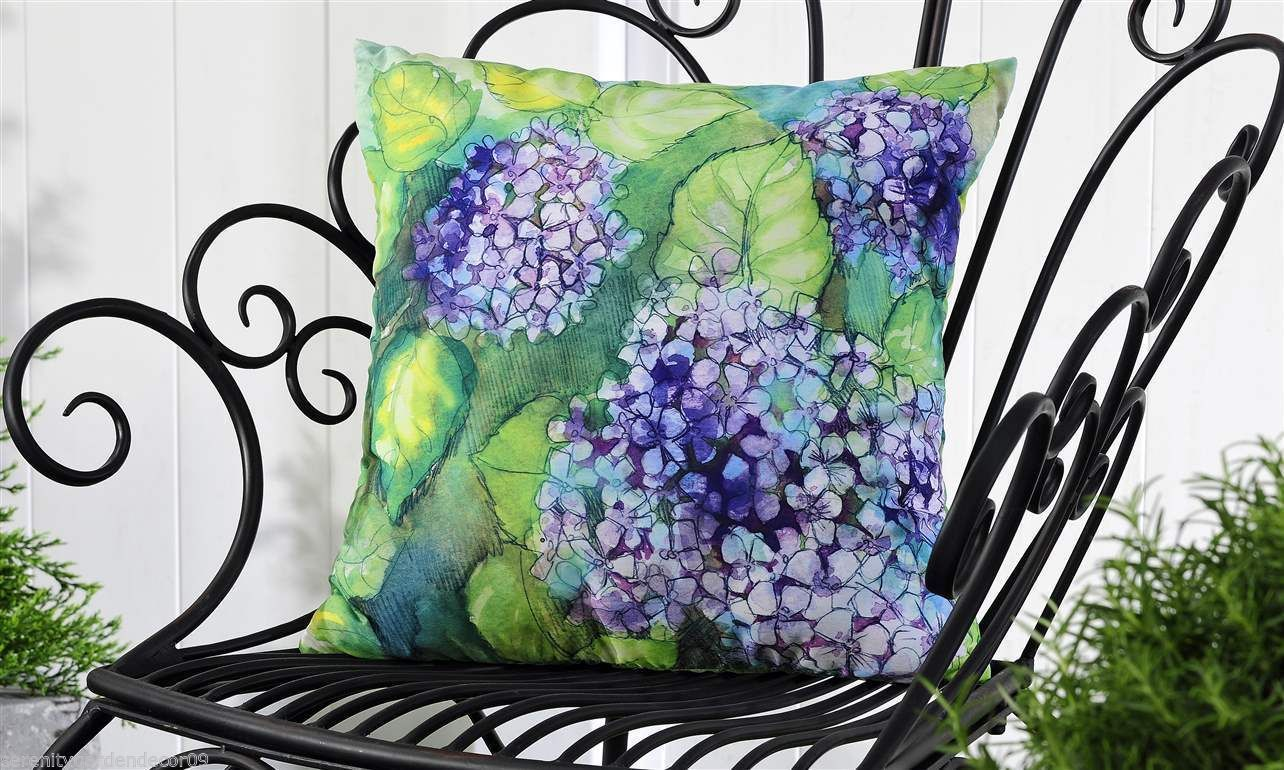 "Purple Hydrangea UV50 Weather Resistant Decorative Throw Pillow 18"" x 18"""