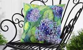 "Purple Hydrangea UV50 Weather Resistant Decorative Throw Pillow 18"" x 18"" - $32.66"