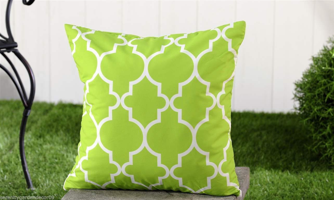 "Green Geometric UV50 Weather Resistant Decorative Throw Pillow 18"" x 18"" - $32.66"