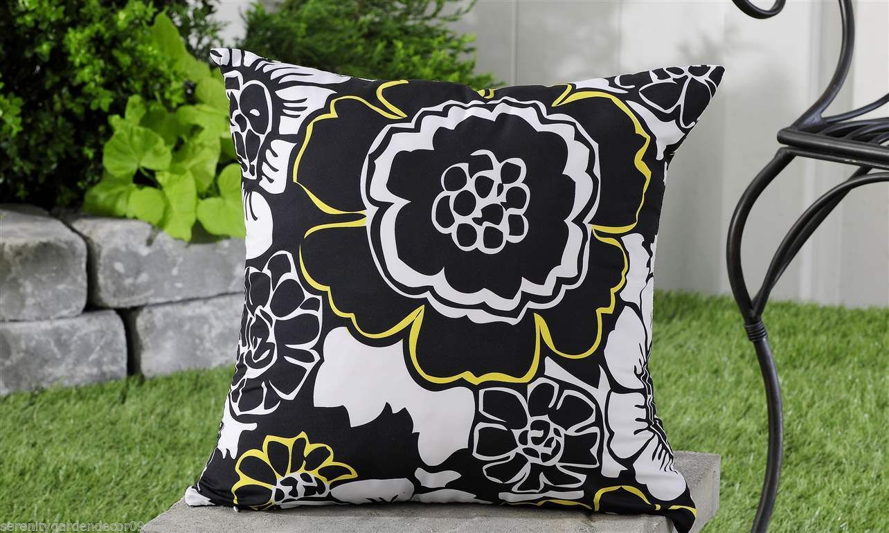 "Black White Geometric UV50 Weather Resistant Decorative Throw Pillow 18"" x 18"""