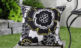 "Black White Geometric UV50 Weather Resistant Decorative Throw Pillow 18"" x 18"" - $32.66"