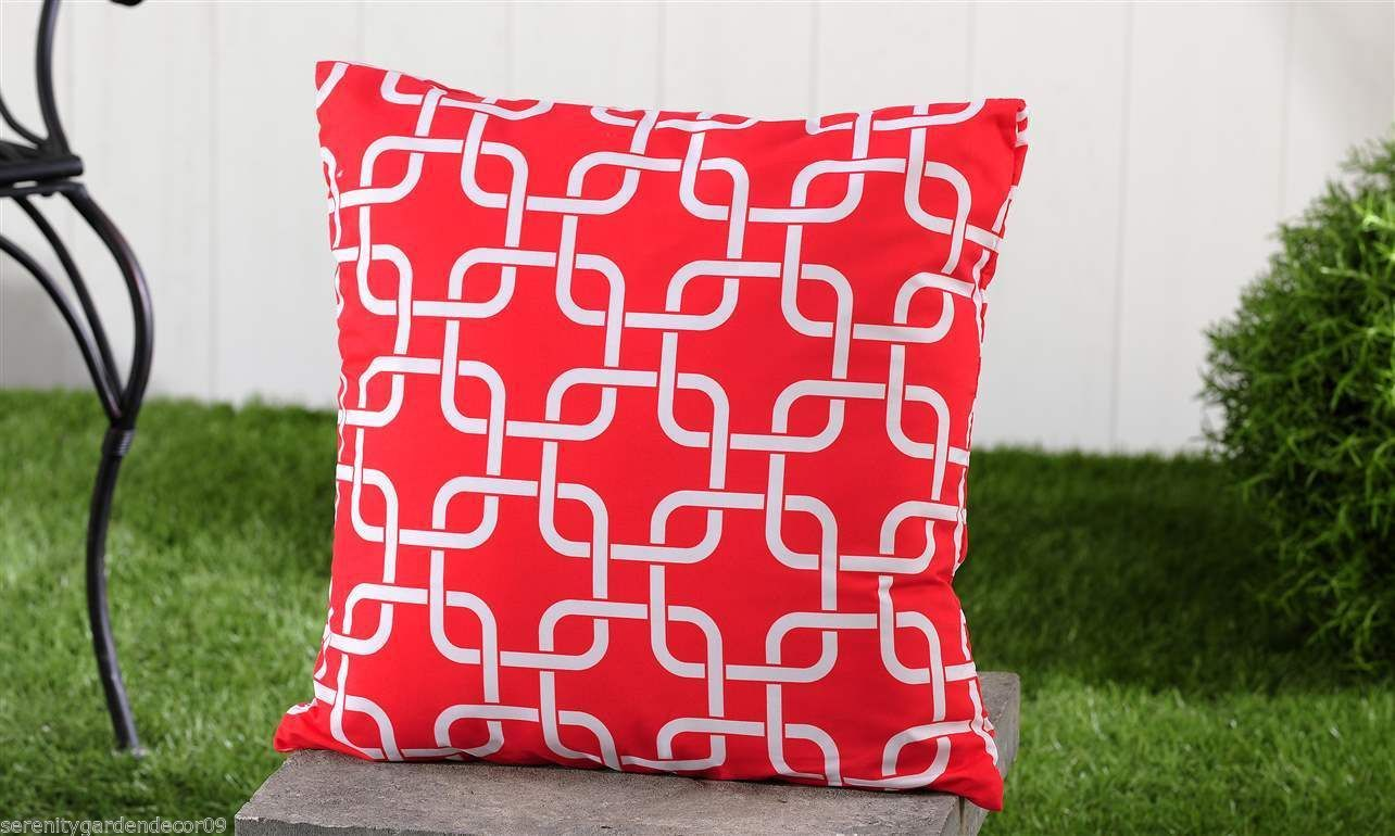 "Red Geometric UV50 Weather Resistant Decorative Throw Pillow 18"" x 18"""