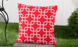 "Red Geometric UV50 Weather Resistant Decorative Throw Pillow 18"" x 18"" - $32.66"