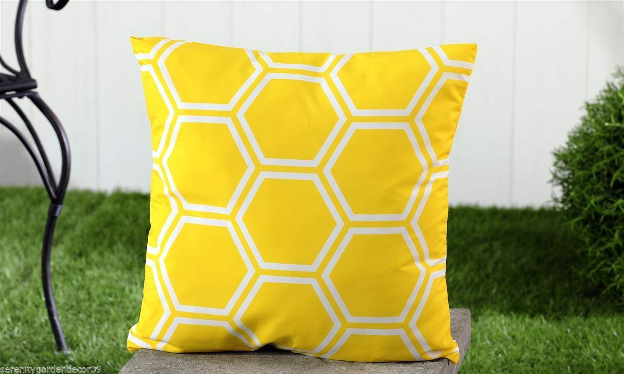 "Yellow Geometric UV50 Weather Resistant Decorative Throw Pillow 18"" x 18"" NEW"