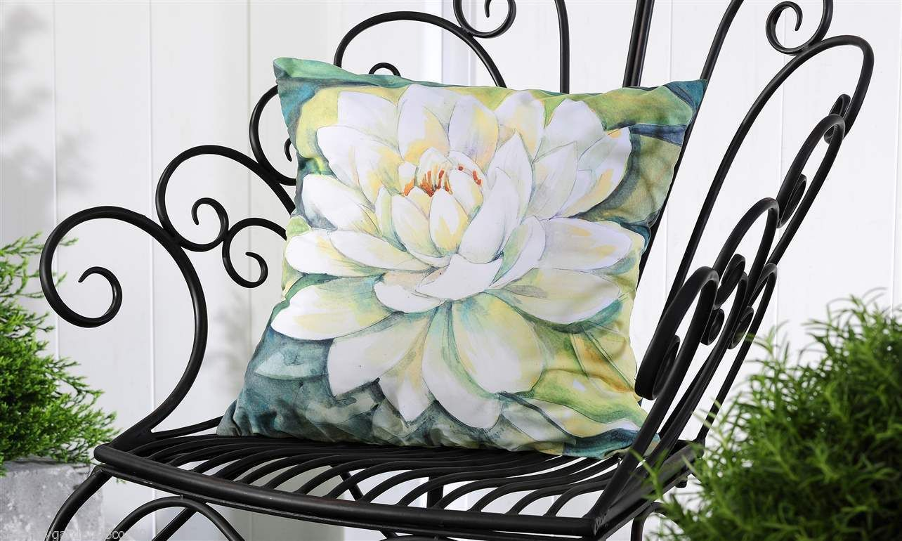 "White Carnation UV50 Weather Resistant Decorative Throw Pillow 18"" x 18"" NEW"