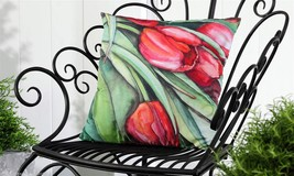 "Purple & Pink Tulip UV50 Weather Resistant Decorative Throw Pillow 18"" x 18"" - $32.66"