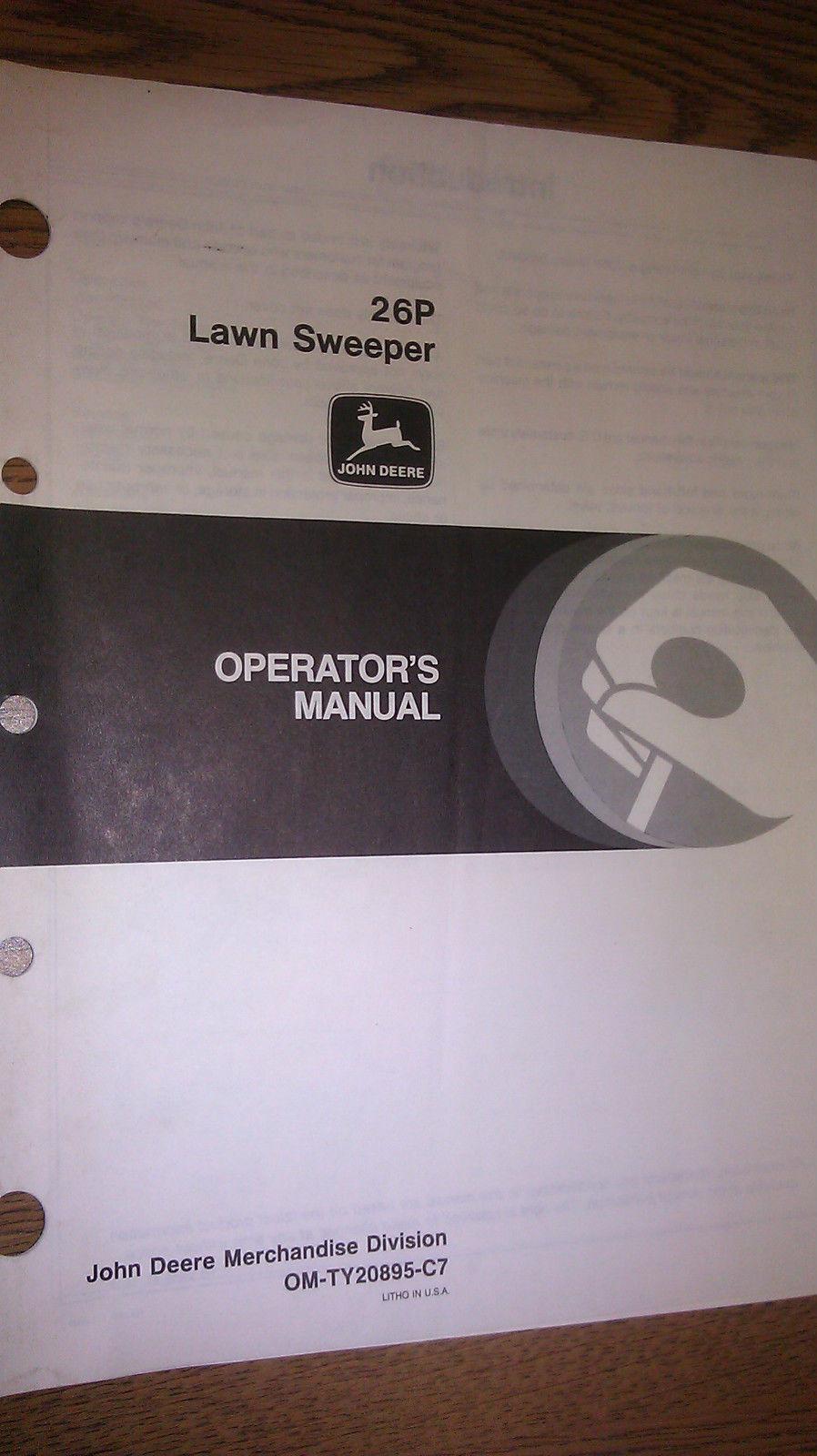 JOHN DEERE 26P LAWN SWEEPER OPERATOR`S MANUAL OM-TY20895 C7