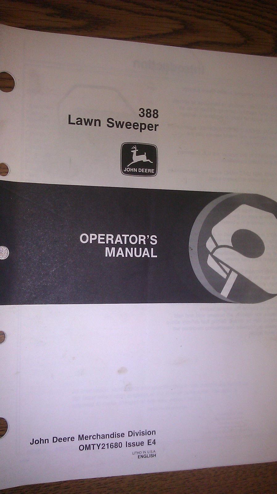 JOHN DEERE 388 LAWN SWEEPER OPERATOR`S MANUAL OMTY21680 E4