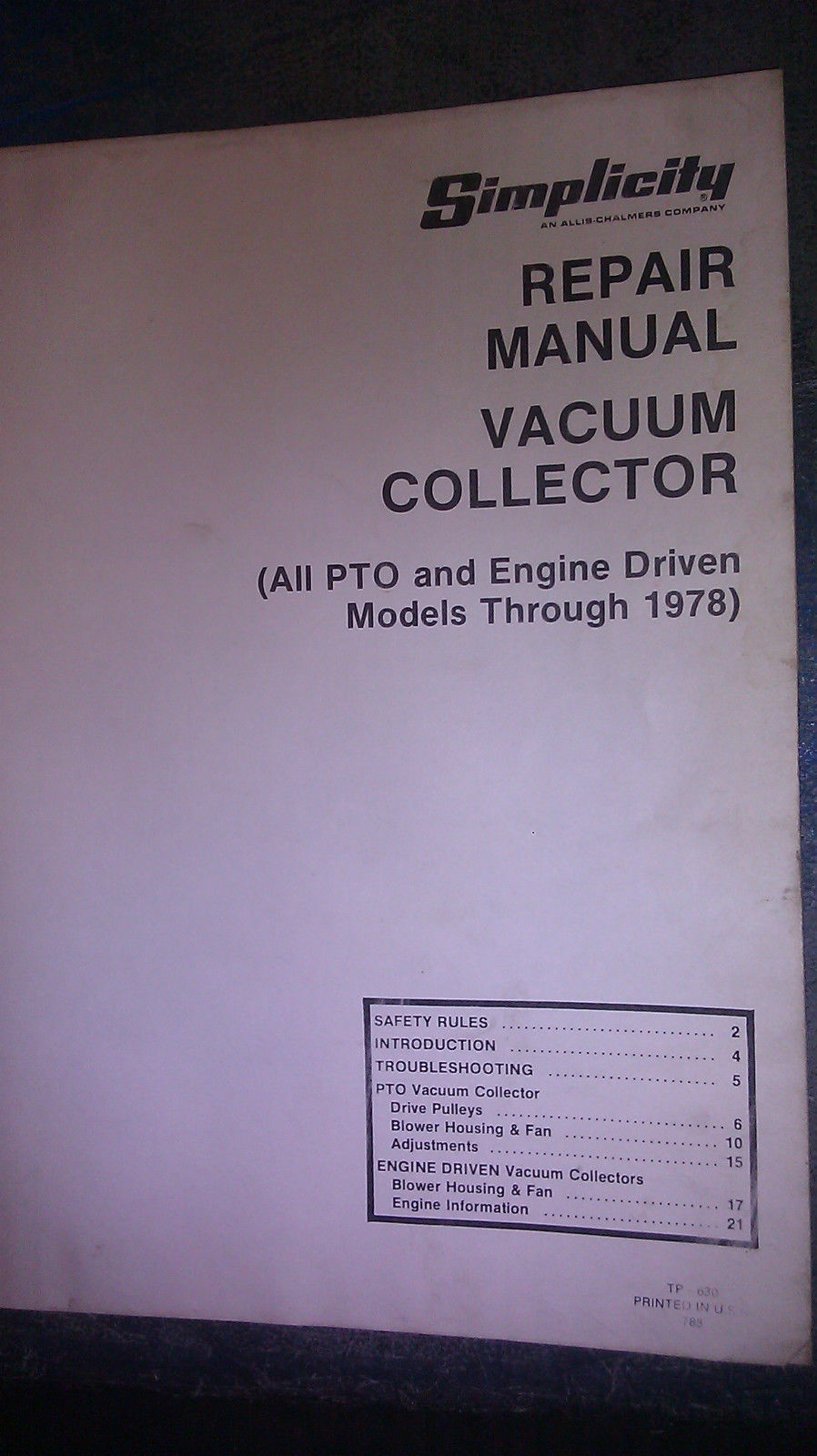 SIMPLICITY REPAIR MANUAL VACUUM COLLECTOR PTO MODELS THRU 1978 TP-630