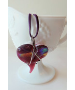 Handmade Wire wrapped hand blown glass pink hea... - $19.98