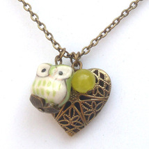 Antiqued Brass Lemon Jade Porcelain Owl Locket Necklace Handmade Vintage... - $13.99