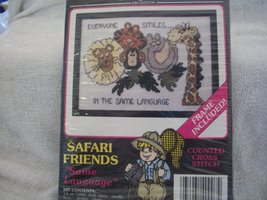 Safari Friends Cross Stitch Kit: Comes With Floss, Frame, Fabric & Directions - $8.00